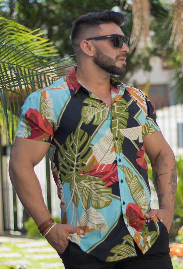 Camisa Masculina Manga Curta em Viscose Estampa Floral Colorida