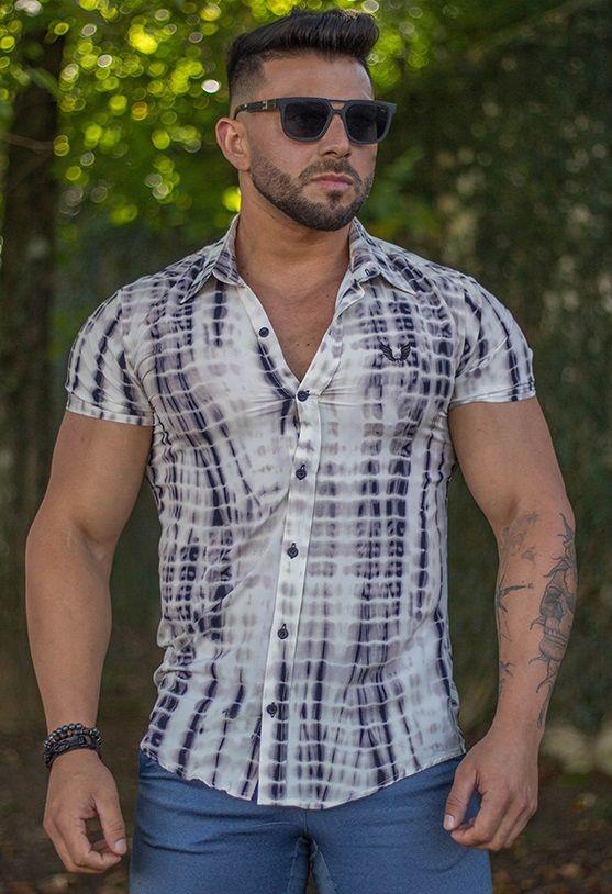 Camisa Masculina Slim Manga Curta Crepe com Elastano