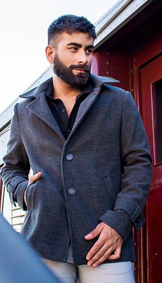 Casaco Masculino Slim em Lã Cinza Mescla Escuro