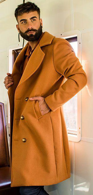 Sobretudo/Overcoat Masculino de Lã Caramelo