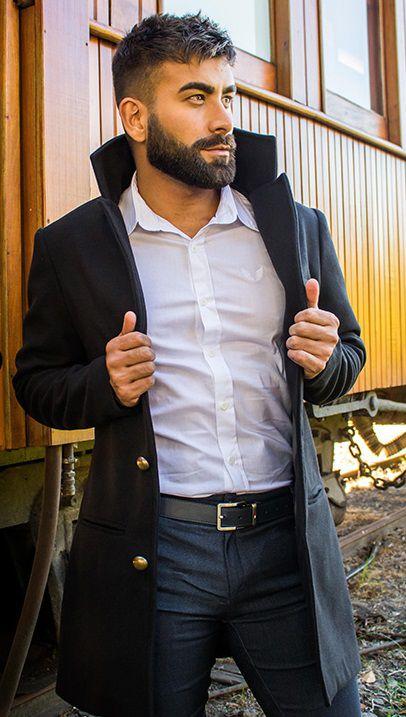 Casaco Masculino Alongado em Lã Preto