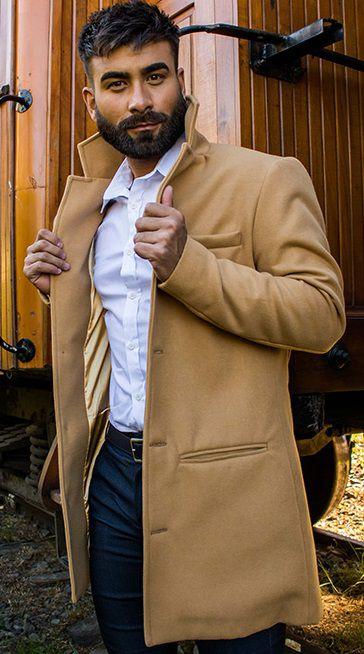 Casaco Masculino Alongado em Lã Caramelo