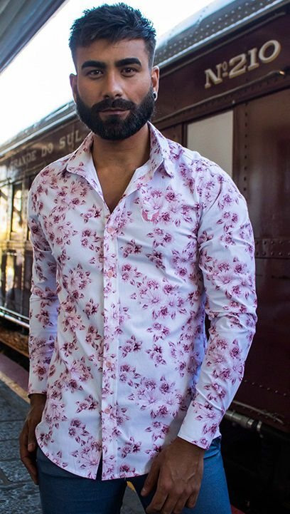 Camisa Masculina Slim Manga Longa com Elastano Estampa Floral