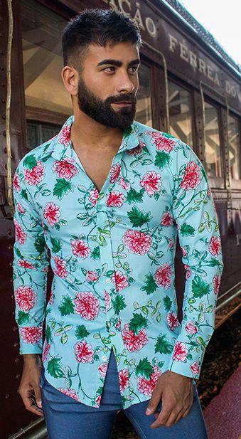 Camisa Masculina Slim Manga Longa com Elastano Estampada Verde Floral