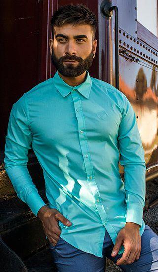 Camisa Masculina Slim Manga Longa Com Elastano Turquesa Claro