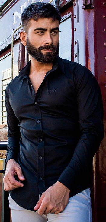 Camisa Masculina Slim Manga Longa com Elastano Preta