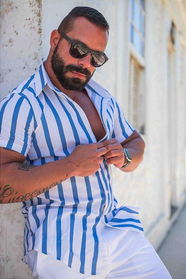 Camisa Masculina Slim Manga Curta em Tricoline Listrada Azul e branco