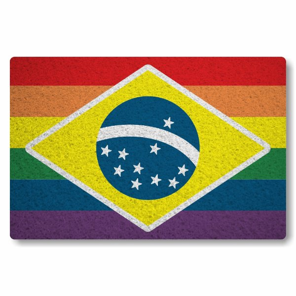 Tapete Capacho Bandeira GLBT Brasil - Colorido