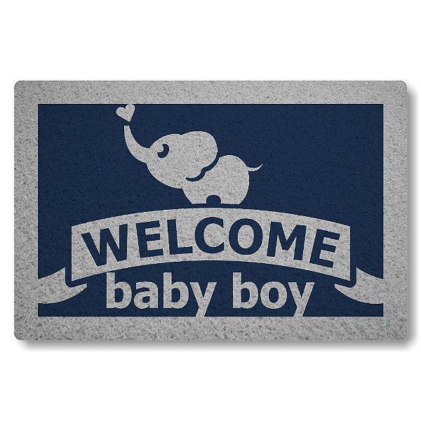 Tapete Capacho Welcome Baby Boy - Azul Marinho