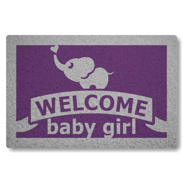 Tapete Capacho Welcome Baby Girl - Roxo