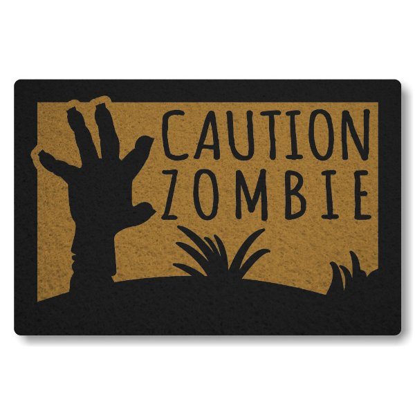 Tapete Capacho Caution Zombie - Ouro