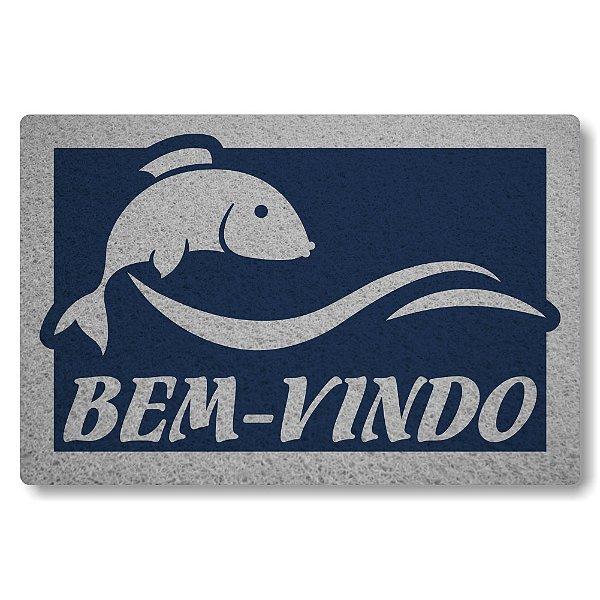 Tapete Capacho Peixe Bem-Vindo - Azul Marinho