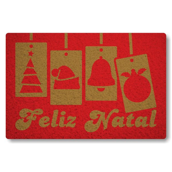 Tapete Capacho Feliz Natal III - Vermelho