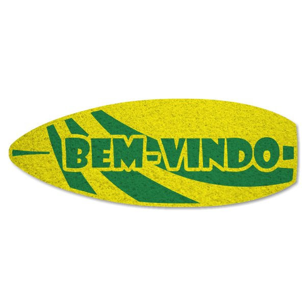 Tapete Capacho Prancha Bem-Vindo - Amarelo