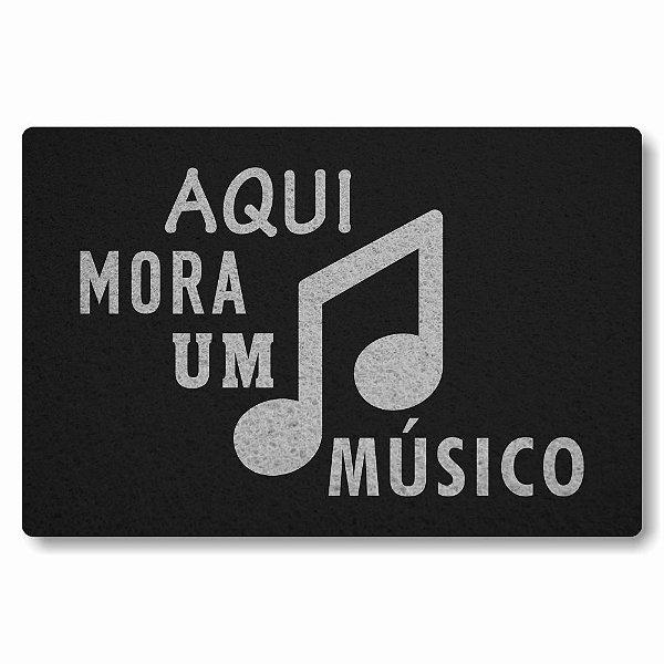 Tapete Capacho Aqui Mora um Musico 2 - Preto