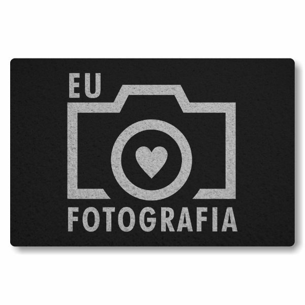 Tapete Capacho Eu amo Fotografia - Preto