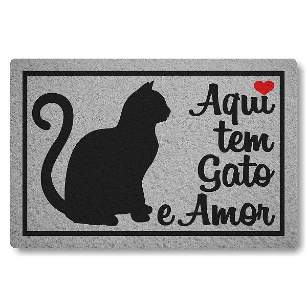 Capacho Linha Tapets Aqui tem Gato e Amor