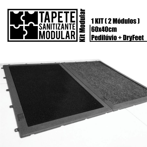 Kit Tapete Sanitizante Modular 60x40cm PED Preto DRY Grafite