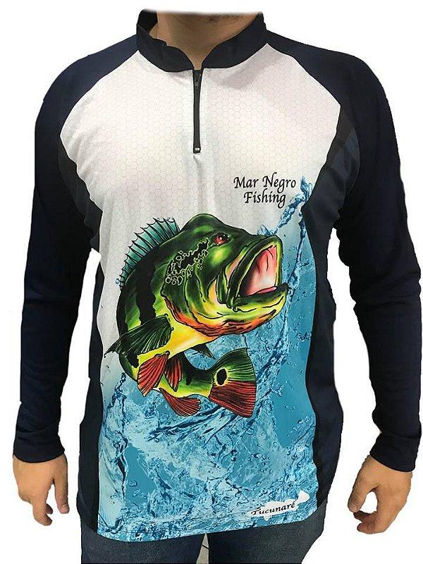 Camiseta / Blusa Pesca Com Proteção Solar - Dryfit - Mar Negro