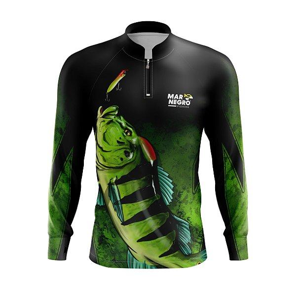 Camiseta para Pesca - Proteção Solar 50+ UV - Tucunaré Verde fundo Preto