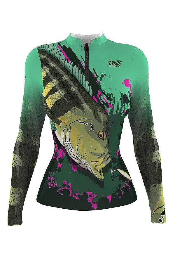 Camiseta para Pesca - Proteção Solar 50+ UV - Tucunaré VERDE E PINK Feminina