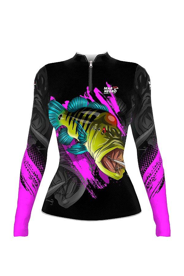 Camiseta para Pesca - Proteção Solar 50+ UV - Preto e lilás Tucunaré