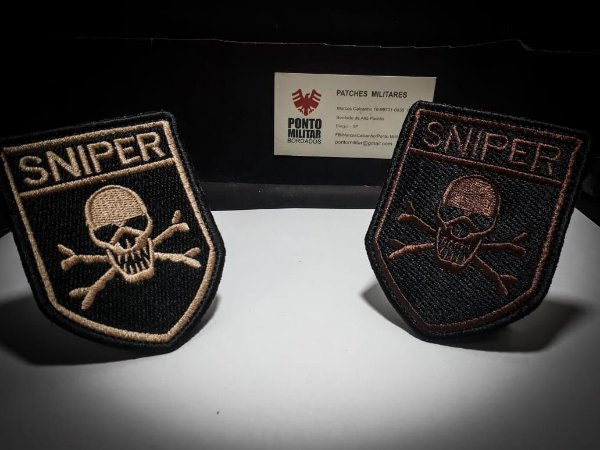 Patch Sniper Caveira-Airsoft -Paintball
