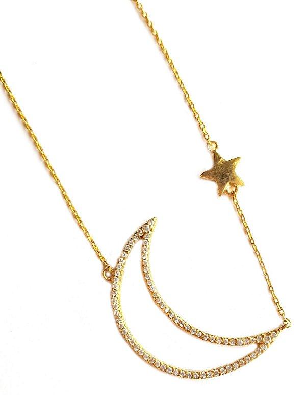 Colar Longo Star Moon Gold