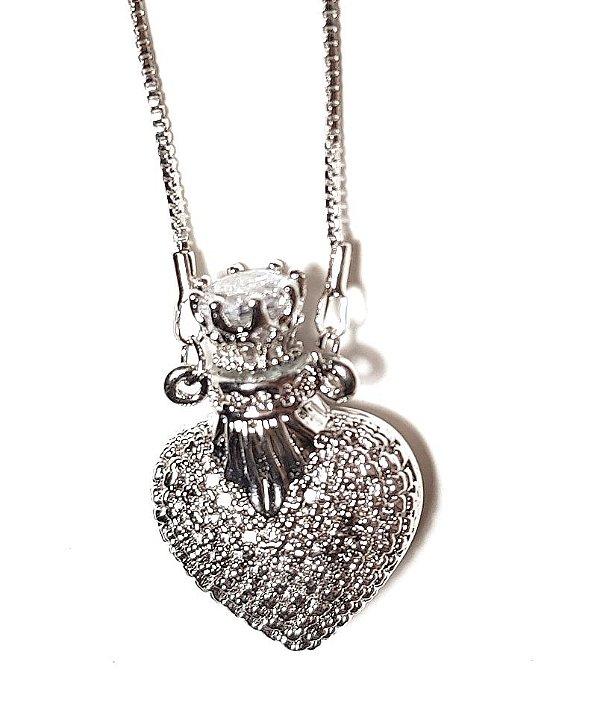 Colar Coração Perfumeiro Midi Silver