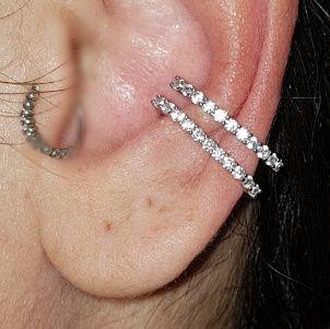Piercing Earhook Silver Rodio branco