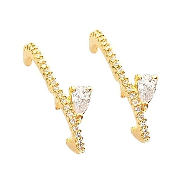 Brinco Earhook Gota Clear - Gold