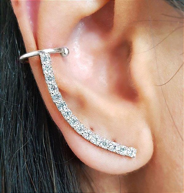 Brinco Earcuff Arco Diamond Silver