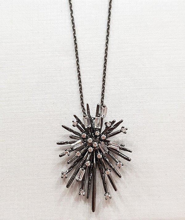 Colar Star Glam Rodio Negro