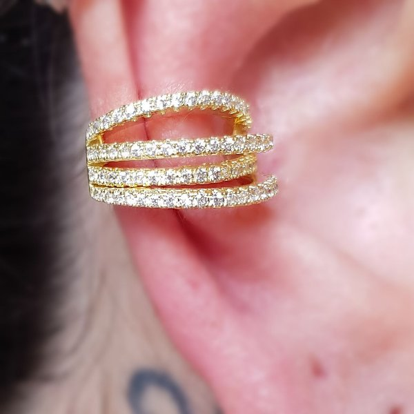Piercing 4 Fileiras ZigZag Gold