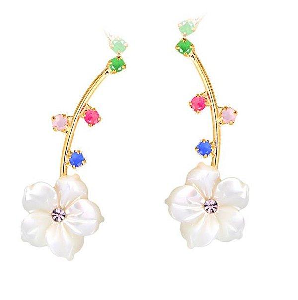 Brinco Earcuff flor colors
