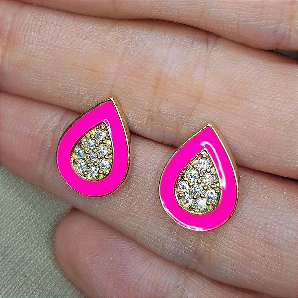 Brinco gota esmaltada Pink cravejada