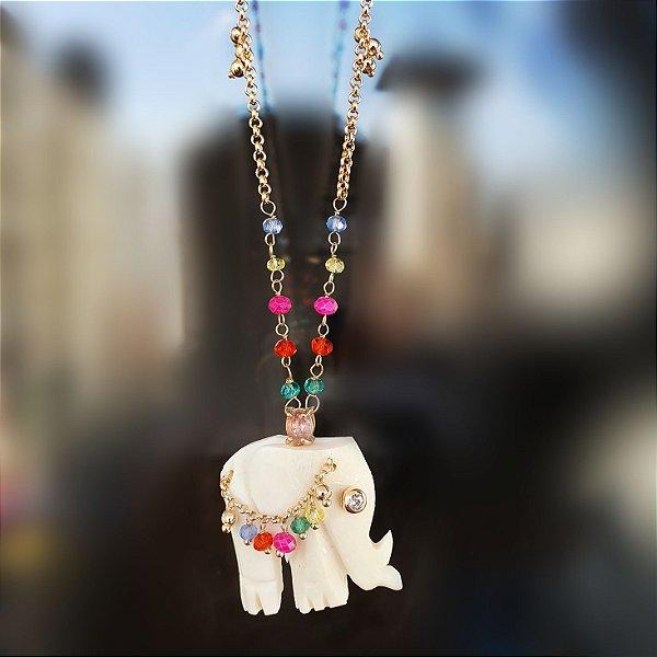 Colar Elefante Madre pérola com Safiras coloridas Mikonos