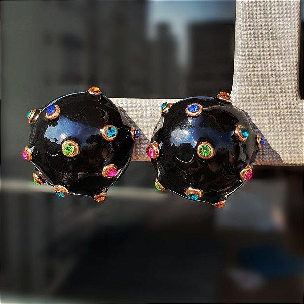 Brinco Balls Esmaltado Onix Colors Media Mikonos