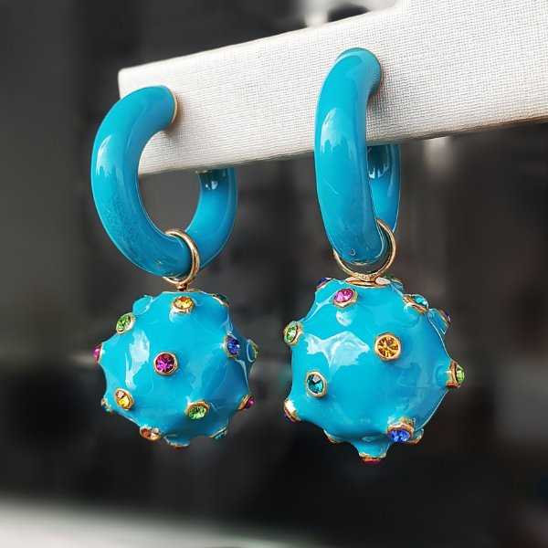 Brinco Argola Balls Esmaltado Turquesa  Colors