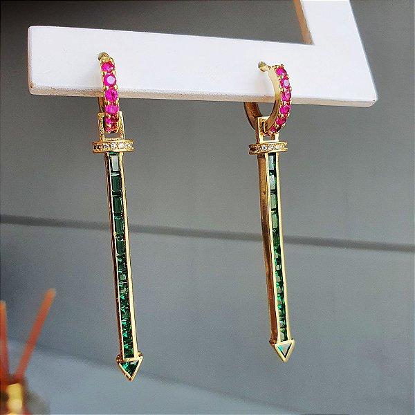 Brinco Palito cristal Esmeralda x Pink