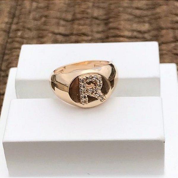 Anel Dedinho Letra R- Gold Mistic