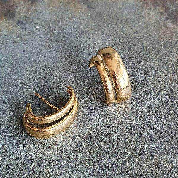 Brinco Earhook Dupla Lisa Gold Mistic