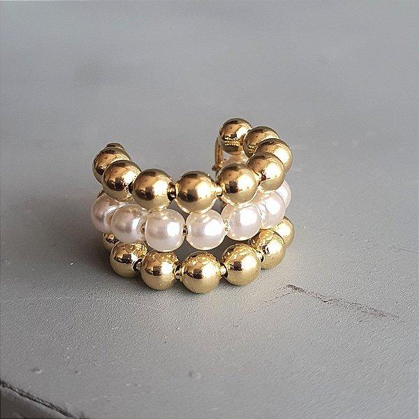 Piercing Triplo Pérola x Balls Gold