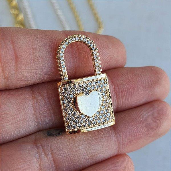 Pingente Cadeado Total Cravejado Coração Gold Mistic