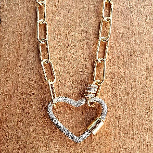 Colar Coração Mosquete 360° Cravejado Gold Mistic