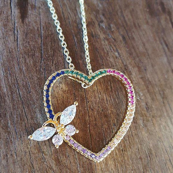 Colar Coração borboleta Rainbow