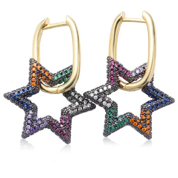 Brinco Argola Star Rainbow Gold Mistc