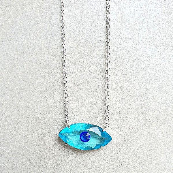 Colar Olho Grego Cristal azul Silver