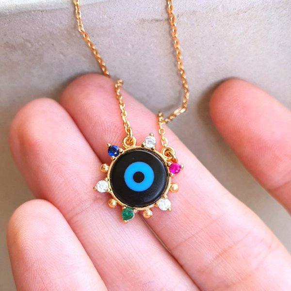 Colar Olho grego ônix colors