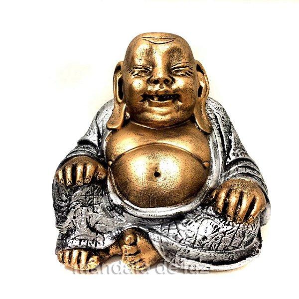 Estátua Buda Chinês Sorridente da Riqueza Dourado e Prateado 16cm